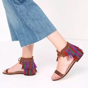 Zara new Multicolored Fringe Flat Sandals